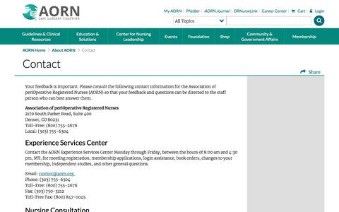 Screenshot of Contact Page aorn.org - Contact Us - Association of periOperative Registered Nurses - captured July 28, 2018