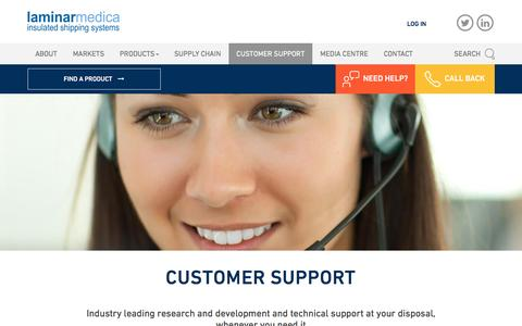 Screenshot of Support Page laminarmedica.com - Customer Support | Laminar Medica - captured Oct. 20, 2016