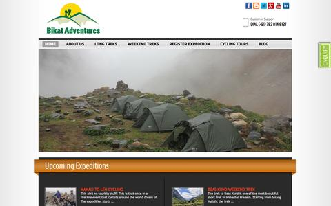 Screenshot of Home Page bikatadventures.com - Bikat Adventure - Guide for Trekking, Cycling & Motorcycling Tours in India, Bikat Adventures Pvt. Ltd., Bike Tours, Motorbiking, MotorCycling, Cycling, Trekking, Tours, Long Treks, Weekend Treks, Uttarakhand, Himachal Pradesh, Ladakh - captured Oct. 5, 2014
