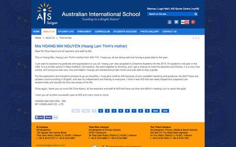 Screenshot of Testimonials Page aisvietnam.com - Australian International School - Testimonials - captured Oct. 5, 2014