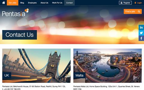 Screenshot of Contact Page pentasia.com - Pentasia | Contact Pentasia Tech and Digital Recruitment Agency - captured July 17, 2018