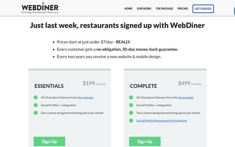 Screenshot of Pricing Page webdiner.com - Start | WEBDINER - captured April 22, 2017