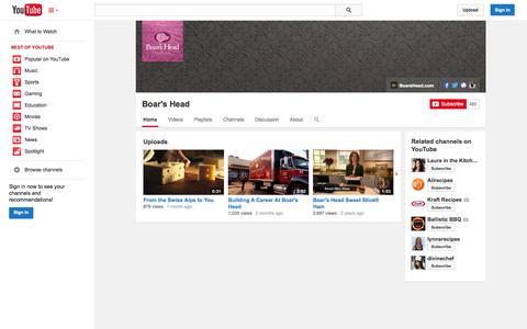 Screenshot of YouTube Page youtube.com - Boar's Head  - YouTube - captured Oct. 23, 2014