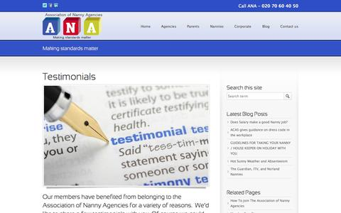 Screenshot of Testimonials Page anauk.org - Testimonials for The Association of Nanny Agencies - captured Oct. 4, 2014