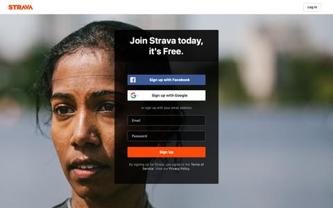 Screenshot of Signup Page strava.com - Create an Account for Cycling and Running Training Log and GPS Bike Routes | Strava Register - captured May 30, 2019