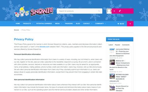 Screenshot of Privacy Page snowie.com - Privacy Policy - Snowie - captured Sept. 29, 2014