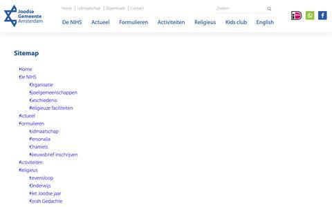 Screenshot of Site Map Page nihs.nl - Sitemap - NIHS - Joodse Gemeente Amsterdam - captured Oct. 19, 2018