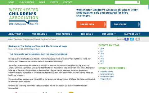 Screenshot of Signup Page wca4kids.org - Resilience: The Biology of Stress & The Science of Hope - captured Oct. 18, 2018