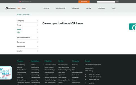 Screenshot of Jobs Page or-laser.com - Careers at - OR Laser - captured Sept. 10, 2019