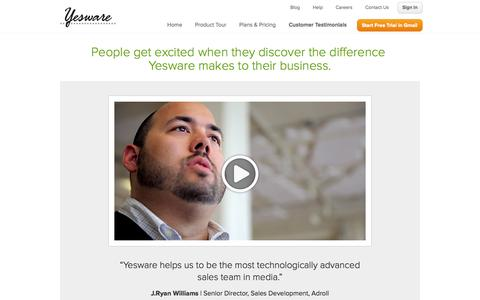 Screenshot of Testimonials Page yesware.com - Yesware Customer Testimonials | Yesware - captured Sept. 12, 2014