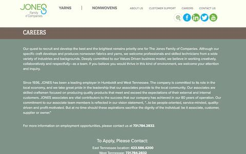 Screenshot of Jobs Page jonesyarn.com - Careers | Jones Family of Companies | Yarn & Fiber - captured Nov. 27, 2016
