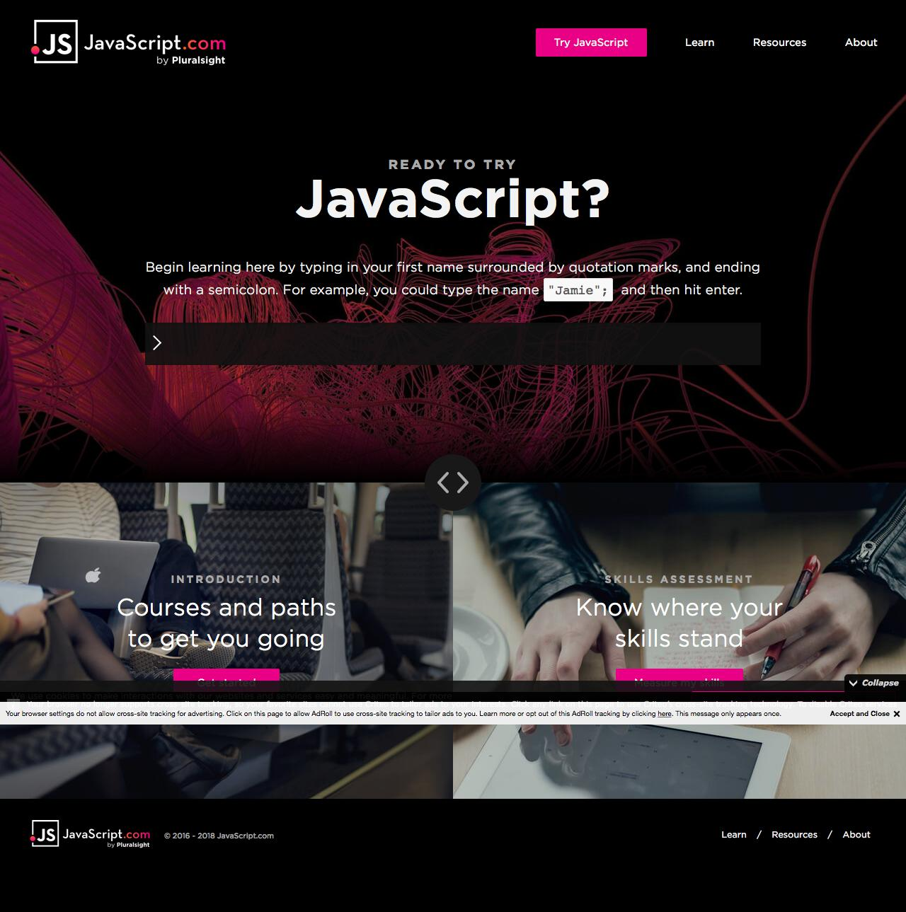Screenshot of javascript.com - JavaScript.com - captured June 1, 2018