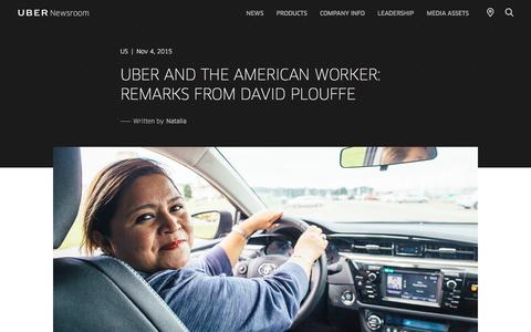 Screenshot of Press Page uber.com - UBER AND THE AMERICAN WORKER: REMARKS FROM DAVID PLOUFFE | Uber Newsroom US - captured May 26, 2018