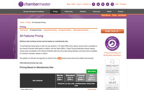 Screenshot of Pricing Page chambermaster.com - All Features Pricing - captured Oct. 21, 2016