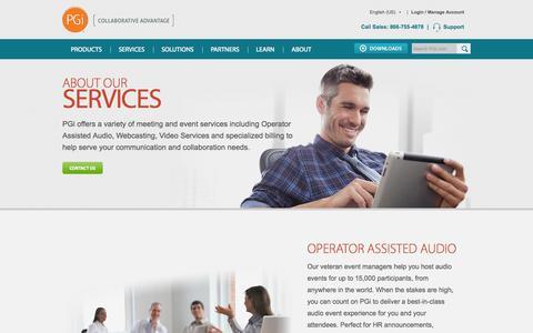 Screenshot of Services Page pgi.com - Services: Operator Assisted Audio, Webcasting & Legal Billing | PGi - captured Sept. 25, 2014