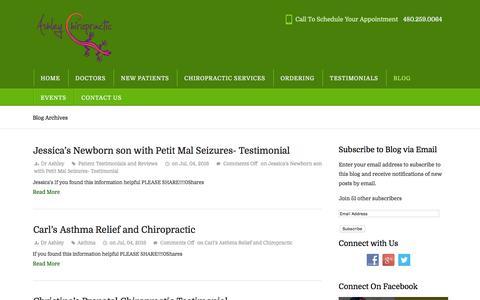 Screenshot of Testimonials Page ashley-chiropractic.com - Testimonials | Ashley Chiropractic - captured July 26, 2016