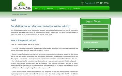 Screenshot of FAQ Page bridgemarksolutions.com - FAQ's for B2B Lead Gen | Bridgemark Solutions — Bridgemark Solutions - captured Sept. 30, 2014