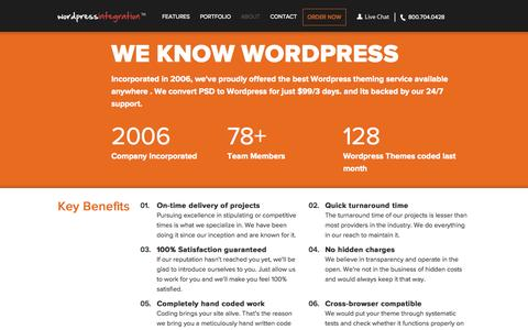 Screenshot of About Page wordpressintegration.com - Wordpress Theme Development Service - WordpressIntegration - captured Sept. 19, 2014