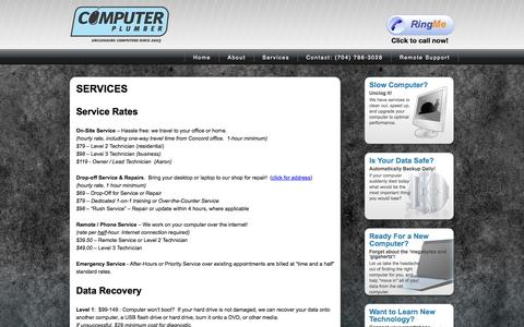 Screenshot of Services Page unclog.me - Computer Plumber - captured Oct. 2, 2014
