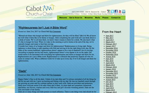 Screenshot of Blog cabotchurch.com - Cabot Church of Christ - Cabot Church of Christ - captured July 11, 2017