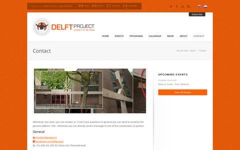 Screenshot of Contact Page delftproject.nl - Contact | DelftProject - captured Oct. 5, 2014
