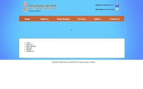 Screenshot of Site Map Page norunnuha.com - Site Map, Trademark Fareeda Wadihana Bangi, Paten Rekaan Bangi | Norunnuha Sdn Bhd - captured Feb. 23, 2016