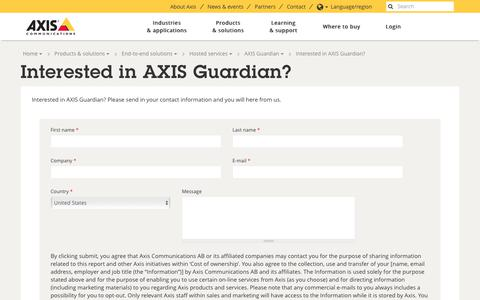 Screenshot of Signup Page axis.com - Interested in AXIS Guardian? | Axis Communications - captured June 22, 2018