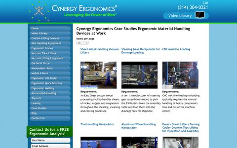 Screenshot of Case Studies Page cynergyergonomics.com - Case Studies | Cynergy Ergonomics - captured Oct. 3, 2014