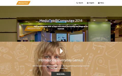 Screenshot of Home Page mediatek.com - MediaTek Inc. - MediaTek - captured Sept. 12, 2014