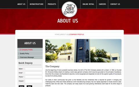 Screenshot of About Page shirt-company.com - Top Clothing/Shirt Manufacturers Companies in Mumbai, India - captured Oct. 26, 2014