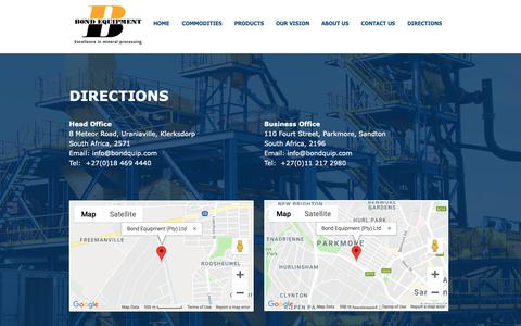 Screenshot of Maps & Directions Page bondquip.com - DIRECTIONS | North West | Bond Equipment - captured Nov. 13, 2018