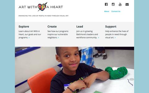 Screenshot of Home Page artwithaheart.net - Art With a Heart – Enhancing the lives of people in need through visual art - captured May 30, 2017