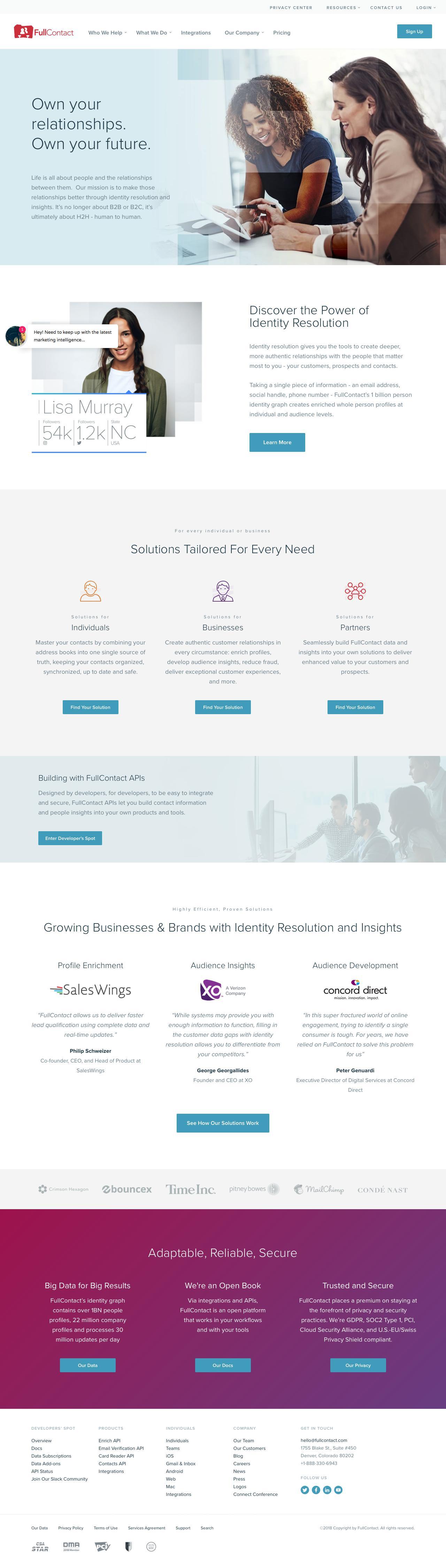 Screenshot of fullcontact.com - Identity Resolution & Data Insights Solutions | FullContact - captured June 7, 2018