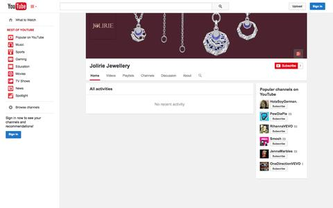 Screenshot of YouTube Page youtube.com - Jolirie Jewellery  - YouTube - captured Oct. 23, 2014
