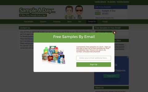 Screenshot of Contact Page sampleaday.com - Chat with us - SampleADAy.com | Free Samples By Mail - No Catch No Surveys - captured June 28, 2017