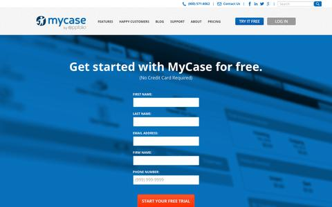 Screenshot of Trial Page mycase.com - (1) New Message! - captured Dec. 13, 2017