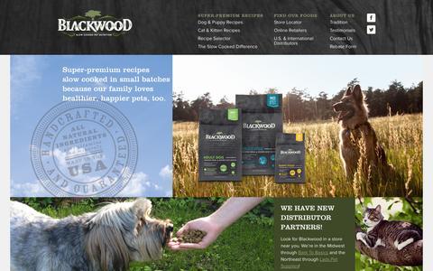 Screenshot of Home Page blackwoodpetfood.com - Blackwood Pet Food | Home - captured Jan. 21, 2015
