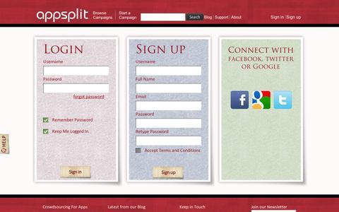Screenshot of Signup Page appsplit.com - Appsplit - Signup to fund, develop, sale on appsplit - captured Sept. 12, 2014