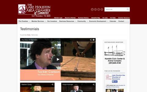Screenshot of Testimonials Page lakehouston.org - Testimonials | Lake Houston Area Chamber of Commerce - captured Oct. 1, 2014