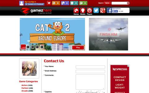 Screenshot of Contact Page gamezhero.com - Contact Us - Gamezhero | Game publisher | Game developer | Online free games - captured Sept. 18, 2014