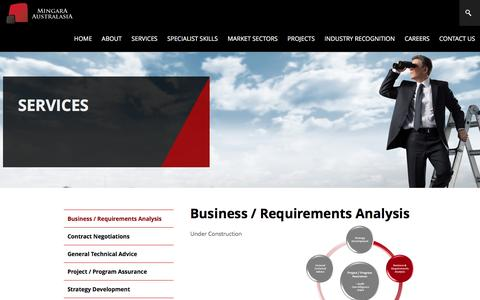 Screenshot of Services Page mingara.net.au - Business / Requirements Analysis - captured Nov. 29, 2016