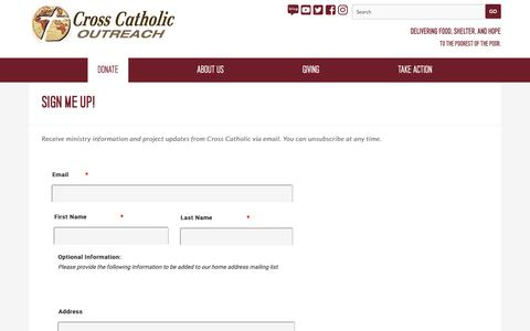 Screenshot of Signup Page crosscatholic.org - SIGN ME UP! — Cross Catholic Outreach - captured Dec. 16, 2018