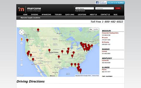 Screenshot of Locations Page marcone.com - Marcone Locations - captured Nov. 1, 2014