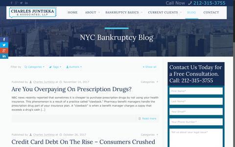 Screenshot of Blog cjalaw.com - NYC Bankruptcy Blog - Charles Juntikka & Associates, LLPCharles Juntikka & Associates - captured June 22, 2018