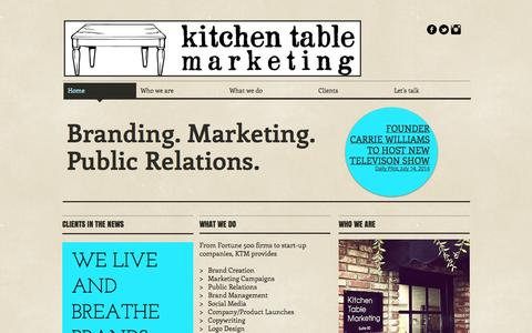 Screenshot of Home Page kitchentablepr.com - Kitchen Table Marketing and PR - captured Oct. 6, 2014