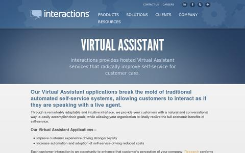 Screenshot of Products Page interactions.net - Virtual Assistant - Interactions | Interactions - captured July 20, 2014