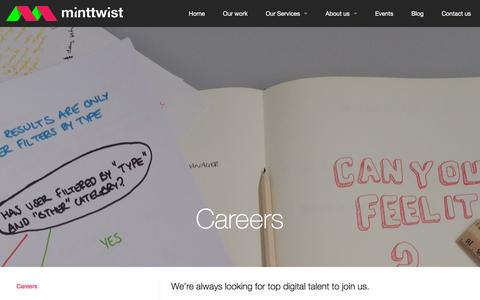 Screenshot of Jobs Page minttwist.com - Build a career with MintTwist in London - captured Nov. 23, 2015