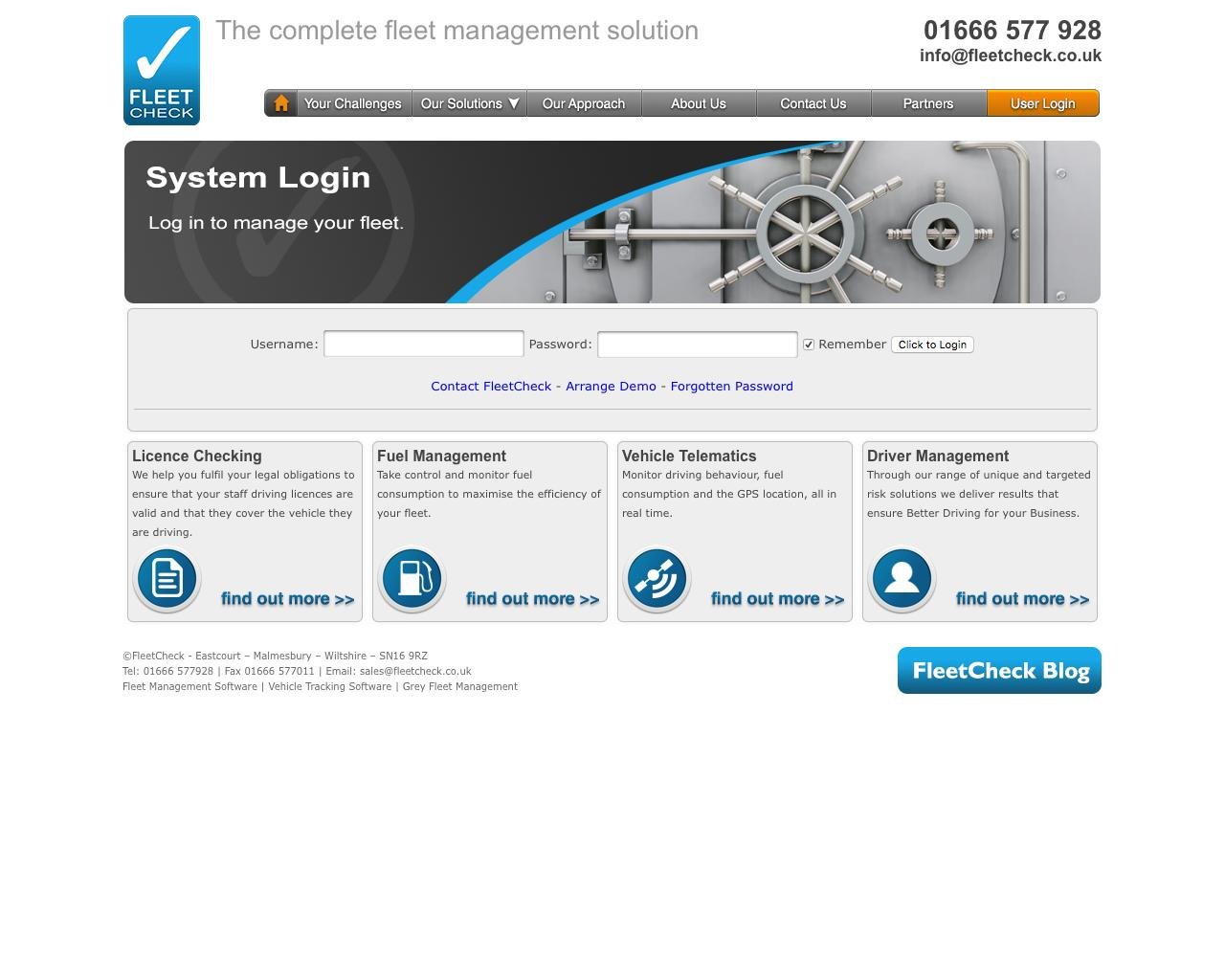 Web Design Example | A page on fleetcheck co uk | Crayon