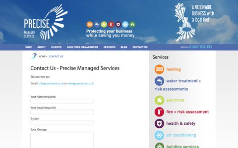 Screenshot of Contact Page preciseuk.co.uk - Contact Us - Precise Managed Services - captured Oct. 6, 2014