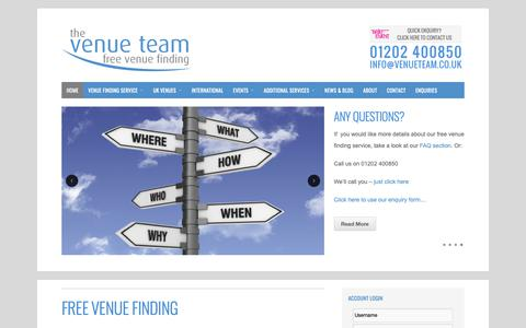 Screenshot of Home Page venueteam.co.uk - Free Venue Finding Service for Conference & Events - The Venue Team - captured Sept. 30, 2018